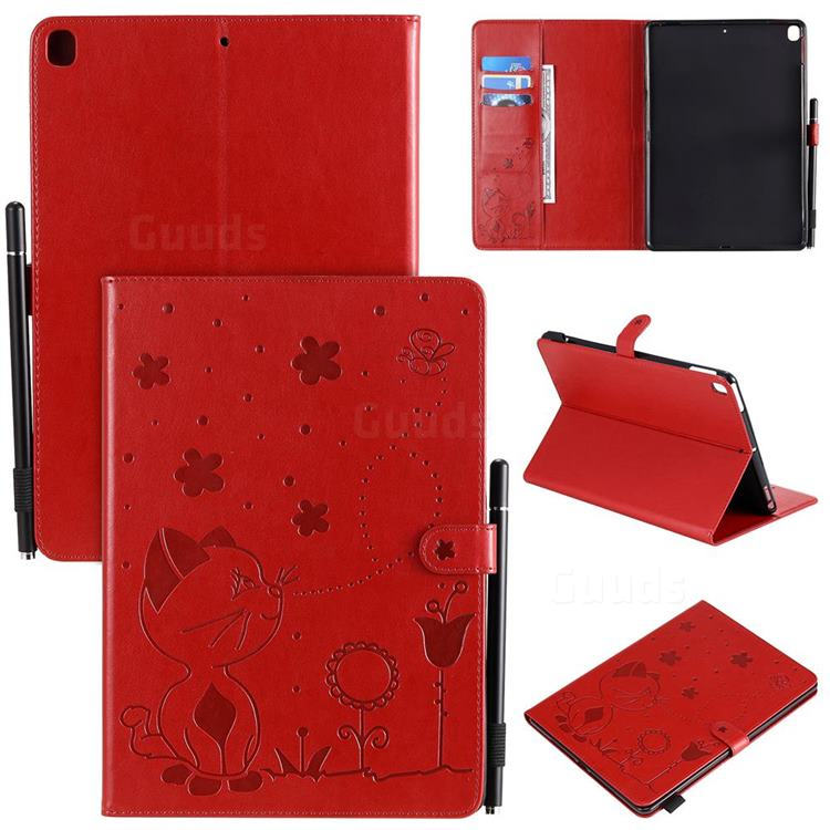 Embossing Bee and Cat Leather Flip Cover for Apple iPad 10.2 (2019) - Red