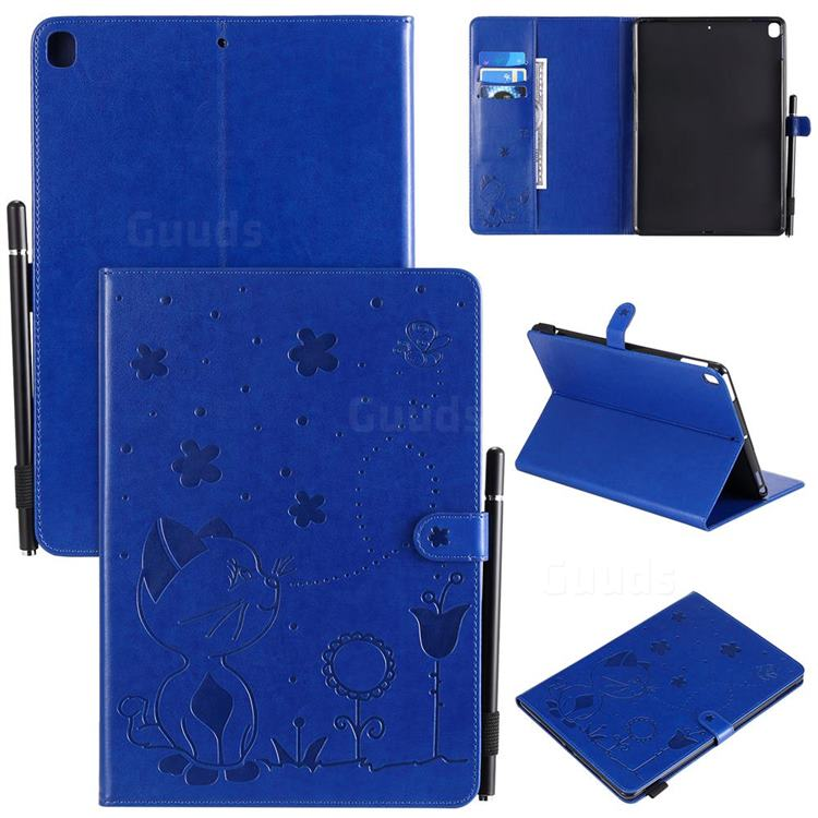 Embossing Bee and Cat Leather Flip Cover for Apple iPad 10.2 (2019) - Blue