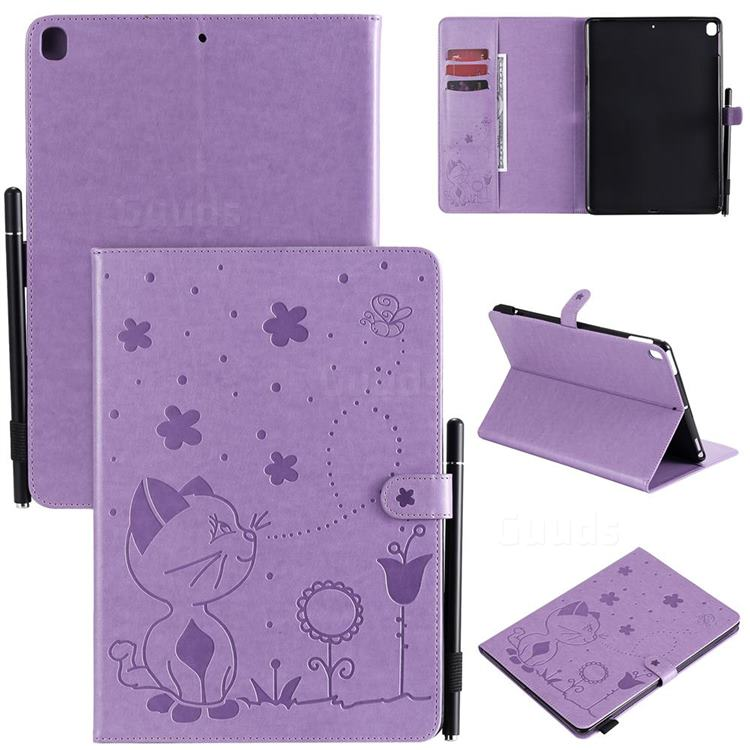 Embossing Bee and Cat Leather Flip Cover for Apple iPad 10.2 (2019) - Purple
