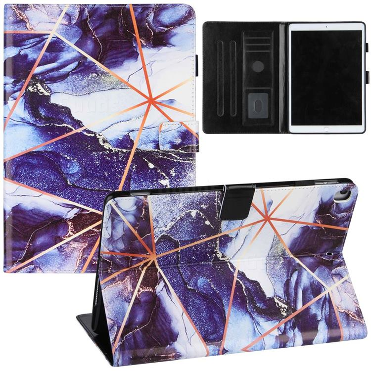 Starry Blue Stitching Color Marble Leather Flip Cover for Apple iPad 10.2 (2019)