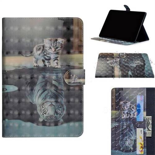 Tiger and Cat 3D Painted Leather Tablet Wallet Case for Apple iPad Pro 11