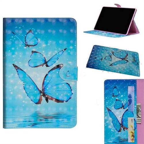 Blue Sea Butterflies 3D Painted Leather Tablet Wallet Case for Apple iPad Pro 11