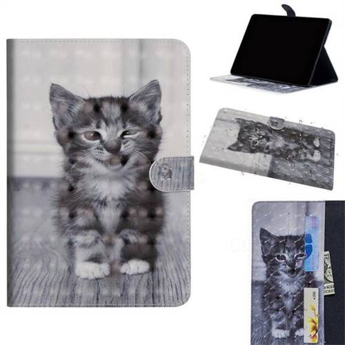 Smiling Cat 3D Painted Leather Tablet Wallet Case for Apple iPad Pro 11