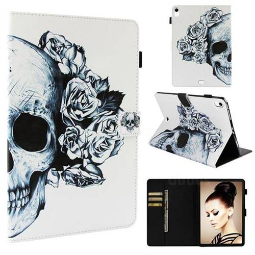 Skull Flower Folio Stand Leather Wallet Case for Apple iPad Pro 11