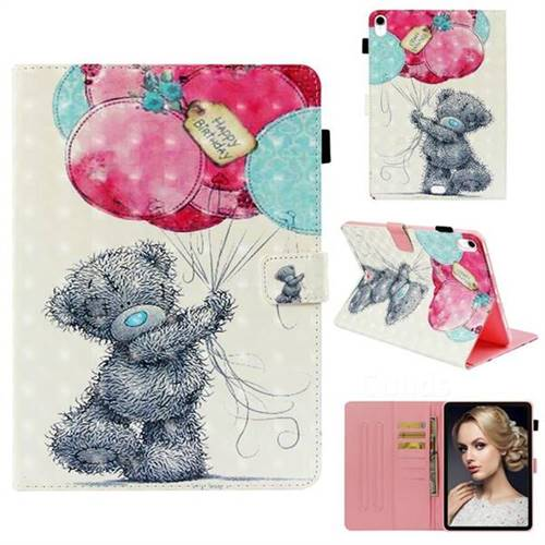 Gray Bear 3D Painted Leather Wallet Tablet Case for Apple iPad Pro 11