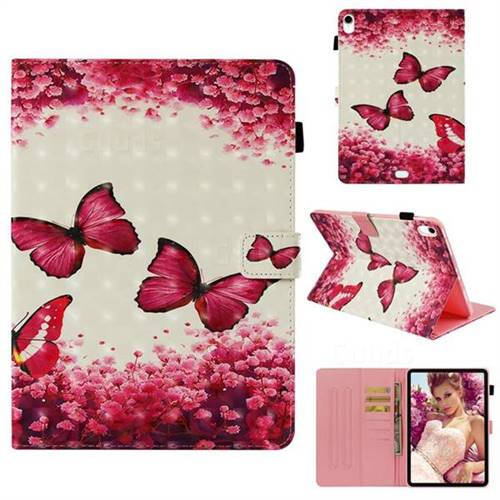 Rose Butterfly 3D Painted Leather Wallet Tablet Case for Apple iPad Pro 11