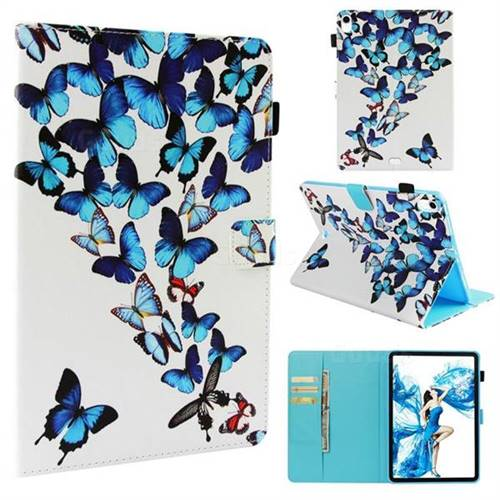Blue Vivid Butterflies Folio Stand Leather Wallet Case for Apple iPad Pro 11
