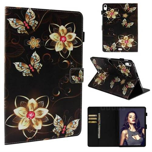 Golden Flower Butterfly Folio Stand Leather Wallet Case for Apple iPad Pro 11