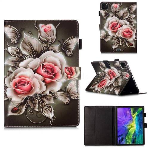 Black Rose Matte Leather Wallet Tablet Case for Apple iPad Pro 11