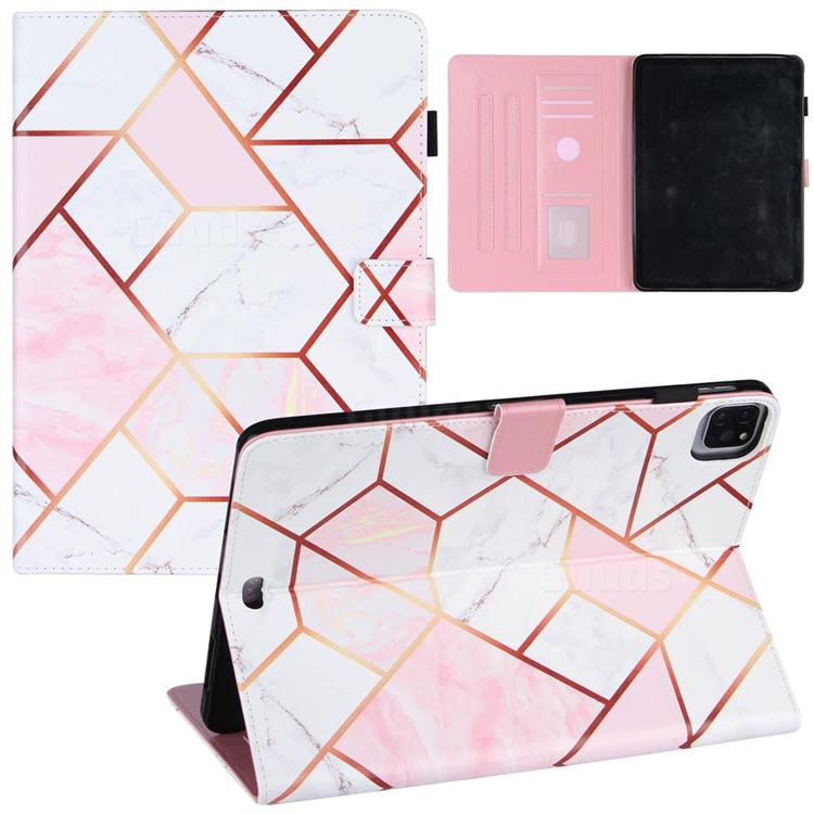Pink White Stitching Color Marble Leather Flip Cover for Apple iPad Pro 11(2018)