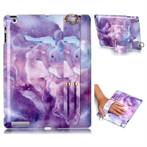 Dream Purple Marble Clear Bumper Glossy Rubber Silicone Wrist Band Tablet Stand Holder Cover for iPad 4 the New iPad iPad2 iPad3