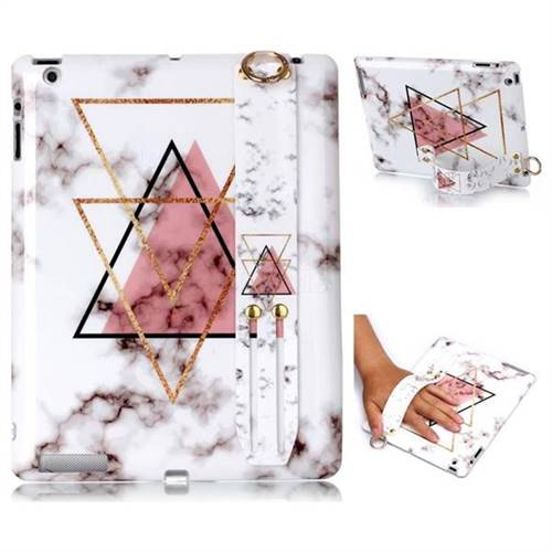 Inverted Triangle Powder Marble Clear Bumper Glossy Rubber Silicone Wrist Band Tablet Stand Holder Cover for iPad 4 the New iPad iPad2 iPad3