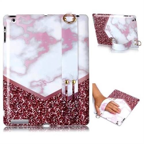 Stitching Rose Marble Clear Bumper Glossy Rubber Silicone Wrist Band Tablet Stand Holder Cover for iPad 4 the New iPad iPad2 iPad3
