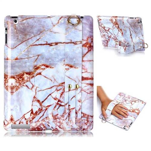 White Stone Marble Clear Bumper Glossy Rubber Silicone Wrist Band Tablet Stand Holder Cover for iPad 4 the New iPad iPad2 iPad3