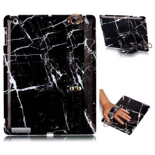 Black Stone Marble Clear Bumper Glossy Rubber Silicone Wrist Band Tablet Stand Holder Cover for iPad 4 the New iPad iPad2 iPad3