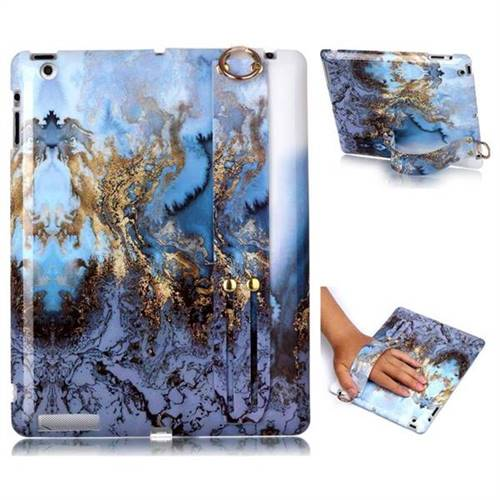 Sea Blue Marble Clear Bumper Glossy Rubber Silicone Wrist Band Tablet Stand Holder Cover for iPad 4 the New iPad iPad2 iPad3