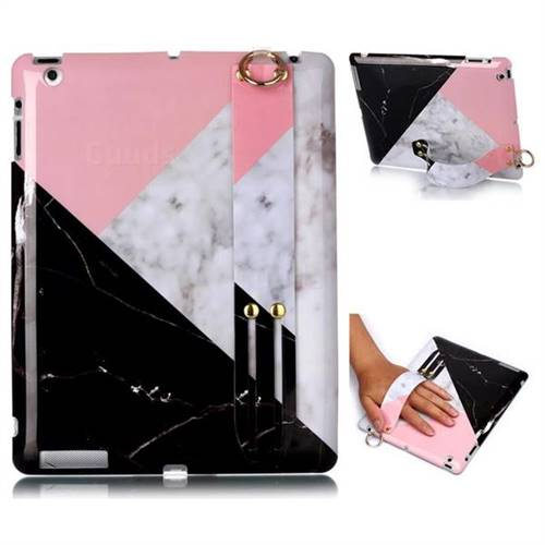 Tricolor Marble Clear Bumper Glossy Rubber Silicone Wrist Band Tablet Stand Holder Cover for iPad 4 the New iPad iPad2 iPad3