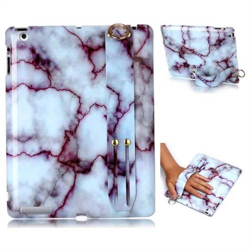 Bloody Lines Marble Clear Bumper Glossy Rubber Silicone Wrist Band Tablet Stand Holder Cover for iPad 4 the New iPad iPad2 iPad3
