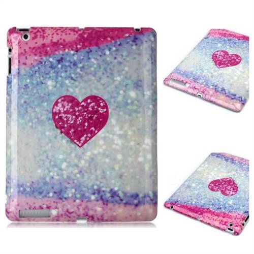 Glitter Rose Heart Marble Clear Bumper Glossy Rubber Silicone Phone Case for iPad 4 the New iPad iPad2 iPad3