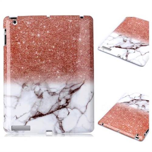 Glittering Rose Gold Marble Clear Bumper Glossy Rubber Silicone Phone Case for iPad 4 the New iPad iPad2 iPad3