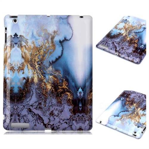 Sea Blue Marble Clear Bumper Glossy Rubber Silicone Phone Case for iPad 4 the New iPad iPad2 iPad3