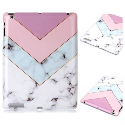Stitching Pink Marble Clear Bumper Glossy Rubber Silicone Phone Case for iPad 4 the New iPad iPad2 iPad3