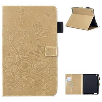 Intricate Embossing Butterfly Circle Leather Wallet Case for iPad 4 the New iPad iPad2 iPad3 - Champagne