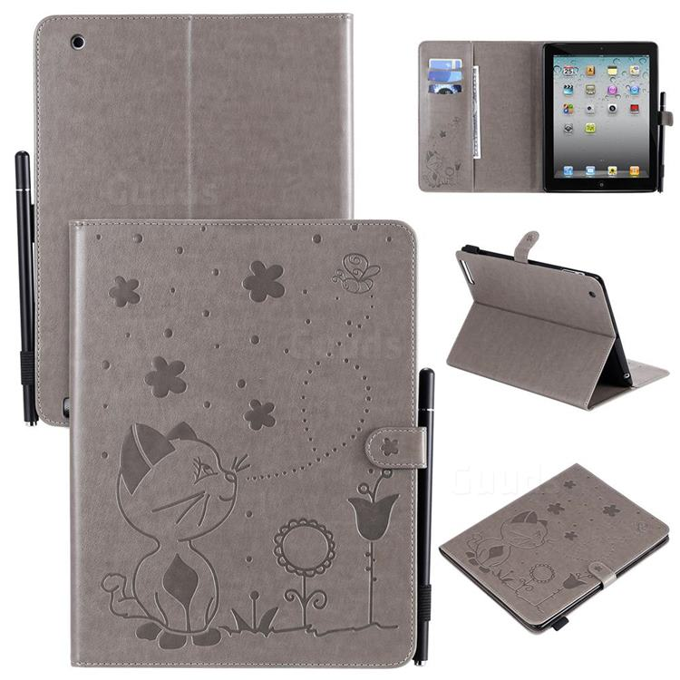 Embossing Bee and Cat Leather Flip Cover for iPad 4 the New iPad iPad2 iPad3 - Gray