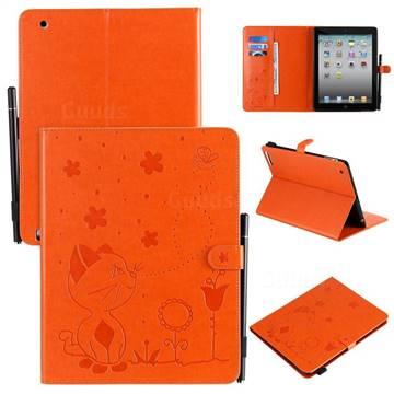 Embossing Bee and Cat Leather Flip Cover for iPad 4 the New iPad iPad2 iPad3 - Orange