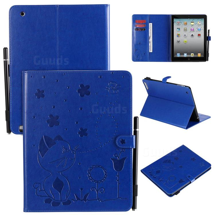 Embossing Bee and Cat Leather Flip Cover for iPad 4 the New iPad iPad2 iPad3 - Blue