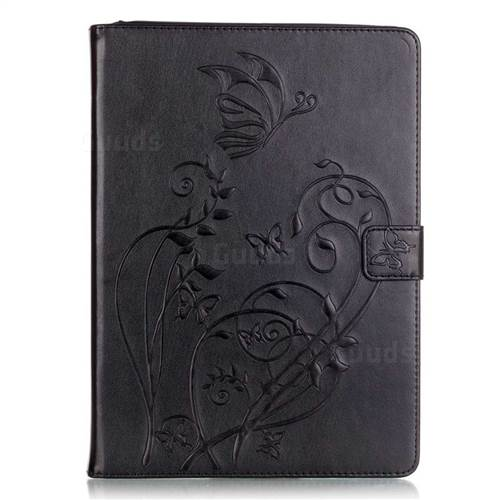 Embossing Butterfly Flower Leather Wallet Case for iPad Air / iPad 5 - Black