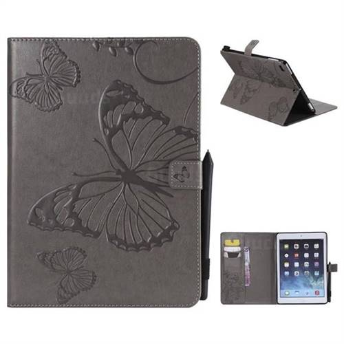 Embossing 3D Butterfly Leather Wallet Case for iPad Air iPad5 - Gray