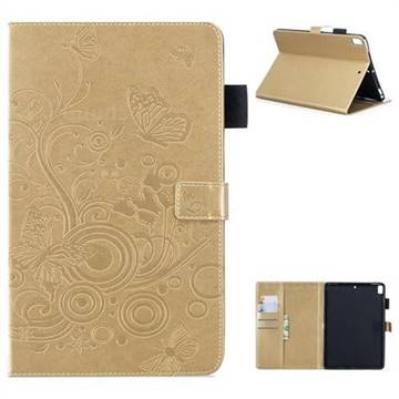 Intricate Embossing Butterfly Circle Leather Wallet Case for iPad Air iPad5 - Champagne