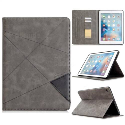 Binfen Color Prismatic Slim Magnetic Sucking Stitching Wallet Flip Cover for iPad Air iPad5 - Gray