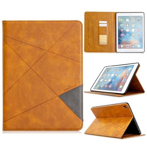 Binfen Color Prismatic Slim Magnetic Sucking Stitching Wallet Flip Cover for iPad Air iPad5 - Yellow