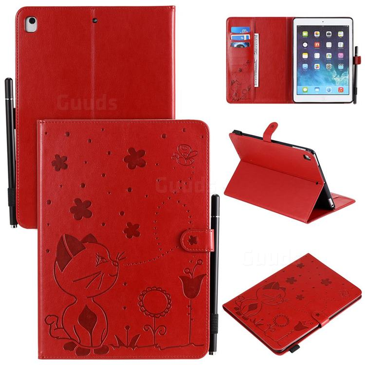 Embossing Bee and Cat Leather Flip Cover for iPad Air iPad5 - Red