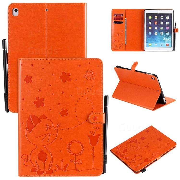Embossing Bee and Cat Leather Flip Cover for iPad Air iPad5 - Orange