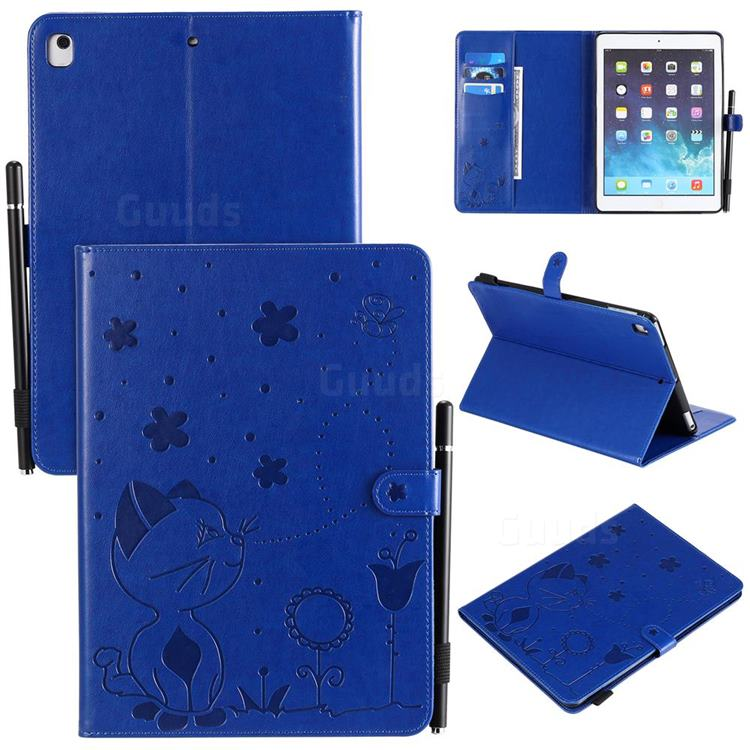 Embossing Bee and Cat Leather Flip Cover for iPad Air iPad5 - Blue