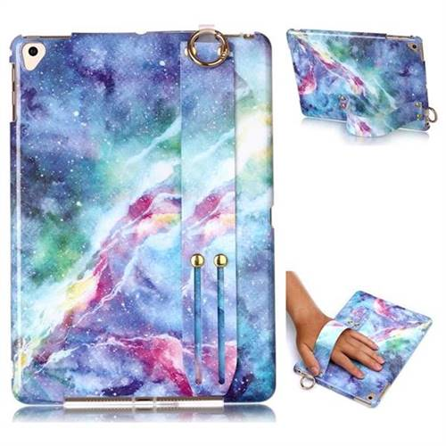 Blue Starry Sky Marble Clear Bumper Glossy Rubber Silicone Wrist Band Tablet Stand Holder Cover for iPad Air 2 iPad6
