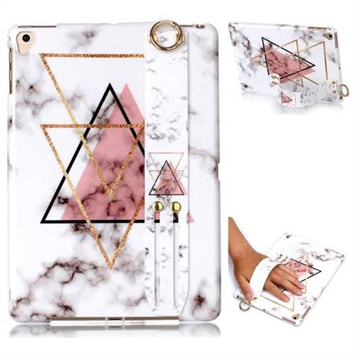 Inverted Triangle Powder Marble Clear Bumper Glossy Rubber Silicone Wrist Band Tablet Stand Holder Cover for iPad Air 2 iPad6