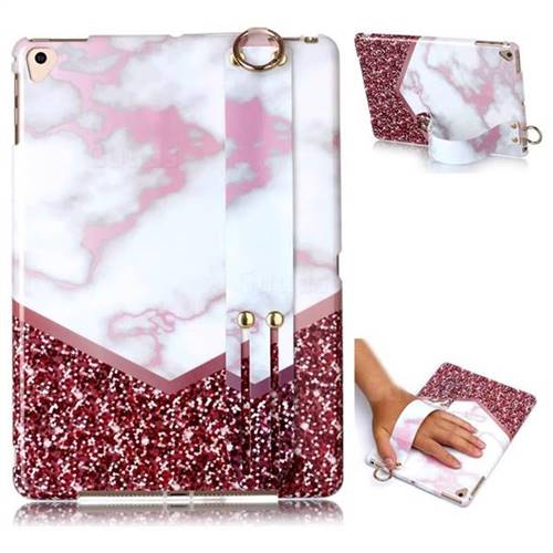 Stitching Rose Marble Clear Bumper Glossy Rubber Silicone Wrist Band Tablet Stand Holder Cover for iPad Air 2 iPad6