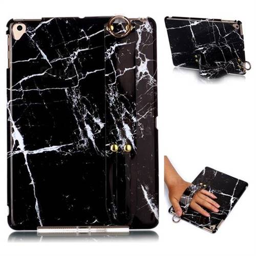 Black Stone Marble Clear Bumper Glossy Rubber Silicone Wrist Band Tablet Stand Holder Cover for iPad Air 2 iPad6