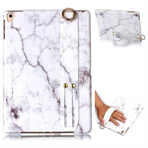 White Smooth Marble Clear Bumper Glossy Rubber Silicone Wrist Band Tablet Stand Holder Cover for iPad Air 2 iPad6