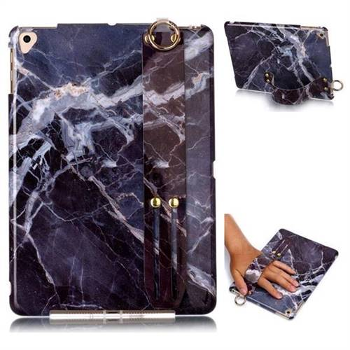 Gray Stone Marble Clear Bumper Glossy Rubber Silicone Wrist Band Tablet Stand Holder Cover for iPad Air 2 iPad6