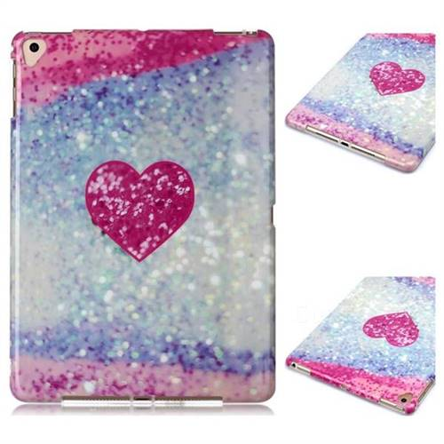 Glitter Rose Heart Marble Clear Bumper Glossy Rubber Silicone Phone Case for iPad Air 2 iPad6