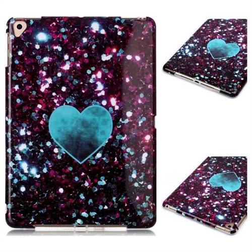 Glitter Green Heart Marble Clear Bumper Glossy Rubber Silicone Phone Case for iPad Air 2 iPad6