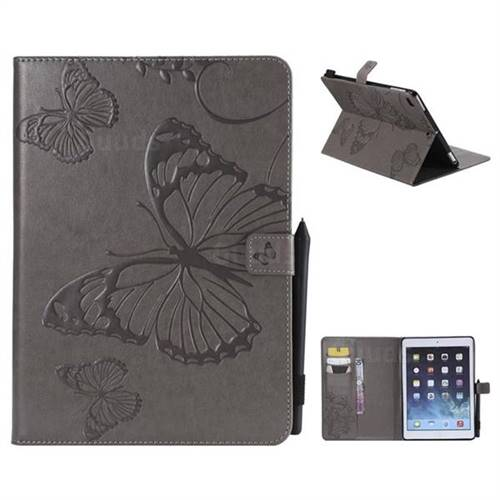 Embossing 3D Butterfly Leather Wallet Case for iPad Air 2 iPad6 - Gray