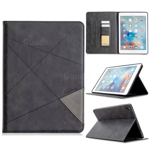 Binfen Color Prismatic Slim Magnetic Sucking Stitching Wallet Flip Cover for iPad Air 2 iPad6 - Black