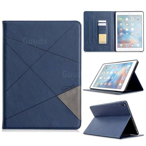 Binfen Color Prismatic Slim Magnetic Sucking Stitching Wallet Flip Cover for iPad Air 2 iPad6 - Blue