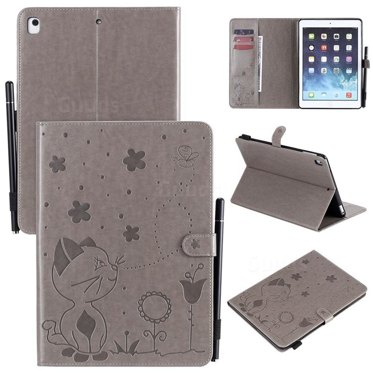Embossing Bee and Cat Leather Flip Cover for iPad Air 2 iPad6 - Gray